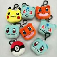 Wholesale Soft Animal Keyrings - Pokémon Go Soft Dolls Poke Plush toys Pikachu Elf Ball keychain Pendant pikachu Elf Ball Stuffed Animals Plush Toys Keyring