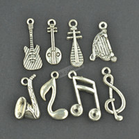 Wholesale Mix musical charms vintage silver plated zinc alloy pendants for diy jewelry findings
