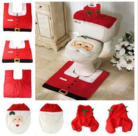 best bath rugs - Multi color Happy Toilet seat cushion set New Best Happy SantaToilet Seat Cover Rug Bathroom Christmas Decorations Bath sets