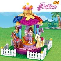 plastic playground - 222pcs City Outdoor Playground Merry go round Dream Girl Friend Minifigures Blocks Set LEGOs Compatible Children Building Toys