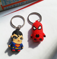 act toys - 3D Cartoon Key Chain Bag Phone Decorations Superman Toys Mobile Phone Hang Act The Role Ofing Silicone Spider man
