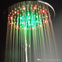 Cheap 8 inch brass round led overhead shower no battery led shower