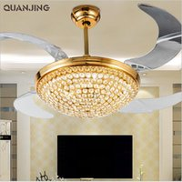 Wholesale Ac v v Modern Led Ventilador Teto inch Golden Invisible Crystal Ceiling Fan With Lights w Folding Fan Remote Control