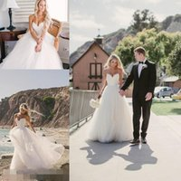 Wholesale 2016 Beach Summer Simple Wedding Dresses Sexy Plus Size Bridal Gowns Vintage Spaghetti Strap Tulle Cheap A Line Bohemian White Wedding Dress