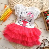 animal custome - 2016 Lace Dress Baby Girl Tutu Dresses with Bow Cartoon Print Lovely Children Princess Cake Dresses Baby Girls Custome