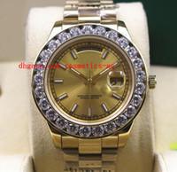 al por mayor bisel de diamantes de oro-Ventas de la fábrica de lujo del reloj de presidente del nuevo Mens 2 II sólido de 18 quilates en oro amarillo de los 41MM grande del diamante del reloj de cerámica Bisel reloj mecánico de los hombres