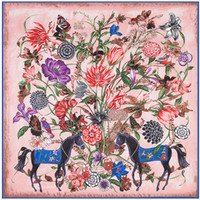 Wholesale 100 Silk Floral Scarves Style Women Horse and Flower Printed Silk Square Scarf Femal Fashion Shawls