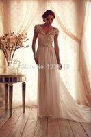Wholesale Elegant See Through Beading Corset Chiffon Wedding Dress Cap Sleeve V Neck Bridal Gowns vestidos de novia
