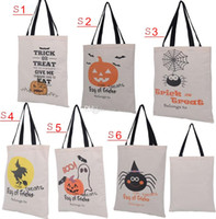 Wholesale Halloween Hand bag Canvas bags cotton Drawstring Bags With Pumpkin devil spider Hallowmas Gifts Sack Bags for style to free choose