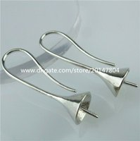 Wholesale 13827 Pair Copper Silver Findings Pinch Bail Earring Hook Wire Jewelry Making
