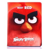 angry fashion - For Apple Ipad air Mini cartoon Angry Birds tab Leather case Stand holder Smart cover with kickstand Auto sleep wake OPP BAG