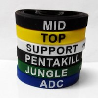 Wholesale 6pcs LOL Game Bracelet Ink Filling Pentakill Jungle Mid Support Adc Top League of Legend Wristband Promotion Gift Silicone Rubber Bracelets
