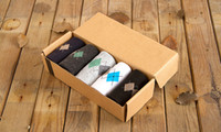 Others animal print gift box - New male summer stripe plaid Gift Box men s socks business casual Pure cotton breathable