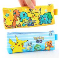 Wholesale Newest Poke Go PU Pencil Bags Pocket Monster Pikachu Children s Pen Bag School Supplies Convenient Stationery