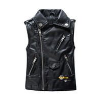 baby boy gilet - Spring and Autumn Children Outerwear WaistCoat Kids Clothes Baby Boy Girls Leather Vest Kids Zipper Gilet For Years Old