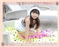 Wholesale Hug Me Korean Baby Girls Bikini Kids Girl Swimwear Baby Swimsuit Ruffle Stripe Lace One Pieces Swimwear with hat MK