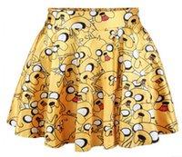 al por mayor cortos de tiempo de aventura-Impresión de alta calidad del envío del verano Faldas 3D Adventure Time Jake Digital nuevas mujeres de las faldas cortas faldas casuales falda plisada S19