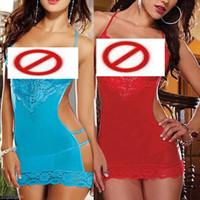 Wholesale Blue Red Lace Sexy Lingerie Women Underwear Sleepwear Nighty Minidress G string R91