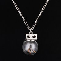 Wholesale Wish Bottle Necklace Natural Dandelion Necklaces Water Drop Bottle Botanical Pendant Long Necklace For Woman Jewelry Y064