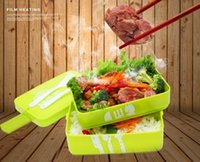 Wholesale Three Layer Rectangle Lunch Box Container Eco Friendly Lunchbox Bento Container For Food Dinnerware Sets