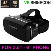 Wholesale VR Shinecon Virtual Reality D Glasses Helmet Google Cardboard Oculus Rift DK2 Gear for iPhone Samsung inch Smartphone