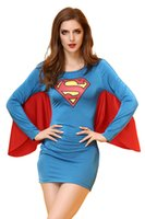 Wholesale Adult Superhero Superwoman Cosplay Costume Sexy Milk Silk Long Sleeve Tight Dress with Cape Halloween Fancy Ball Role Play Dress