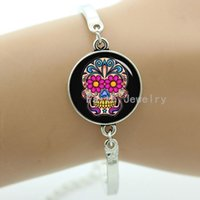 beautiful thanksgiving pictures - Day of the Dead skull bracelet art picture of sugar skull and beautiful flowers Day of the Dead skull bracelet women jewelry