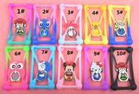 animal ring stand - Cartoon D Animal Minions Rubber Silicone Case Universal Bumper Frame with Ring Stand holder for cellphone case iphone Samsung LG HTC Sony