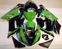 Wholesale 3 Free gifts New Fairing kits for ZX R Ninja ZX6R ZX636 ABS fairings Body kits Cool black green elf