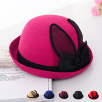 Wholesale Women Ladies Faux Woolen Warm Winter Floppy Dome Boonie Fedora Hat Top hats Boonie With Rabbit Ears