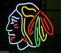 Wholesale CHICAGO BLACKHAWKS HOCKEY Handcraft Real Glass Beer Neon Light Sign FREE SHIP