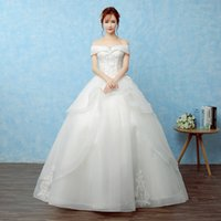 Wholesale 2016Wedding dresses new style Lace TrailingThe word shoulder white