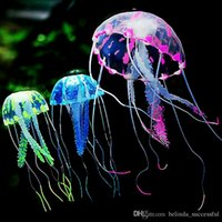 Wholesale cm Artificial Glowing Jellyfish with Sucker Fish Tank Aquarium Decoration Aquariums Ornaments Accessories Colors