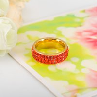 Wholesale Newest Design Rings For Women K Gold Plated Stainless Steel Row Red Color Crystal Vintage Wedding Jewelry