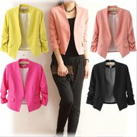 Wholesale Hot Sale Women s Blazer Jackets Spring New Solid Color Suit Ruched Sleeve Slim Fit Thin Coat Cardigan Tops Drop Shipping