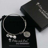 ani v - New Arrive Top quality Initial letter V Charm Bangle alex and ani SILVER bracelet with box and pouch with logo