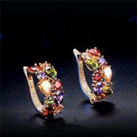 Wholesale Gold Plated Elegant Crystal Rhinestone Ear Stud Earrings Elegant Jewelry Best Gifts For Women Ladies