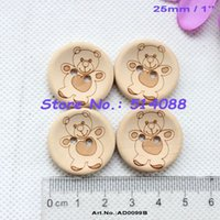 Wholesale MM Bear laser natural wooden button kid s hat toy accessories sewing wood button supplies quot AD0099
