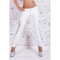 Wholesale Fashion Women s Lace Patchwork Large Cotton White Jeans Pants Sexy Stylish Low Waist Comfortable Unique New
