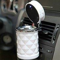 automobile ashtrays - Car Ashtrays Automobile cigarette ash cylinder with LED lamp diamond cut out air outlet hanging type on vehicle garbage box