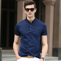 Wholesale 2016 Fashion High quality summer style turndown collar short sleeve solid color Men s sport POLO Shirt