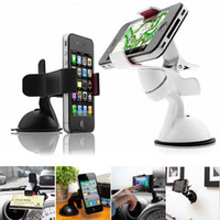 Wholesale 360 deg Rotating Universal Car Windshield Mount Stand Holder For iPhone HTC Mobile Phone MP4 MP5 GPS