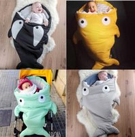 Wholesale Kids shark mermaid tail blanket children bedding swaddle kids baby soft cotton sleepbag mermaid tail blanket Bed Wrap