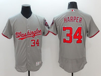 Wholesale 2016 New Men Washington Nationals Bryce Harper Grey Majestic MLB Baseball Jersey Stitched Name Number
