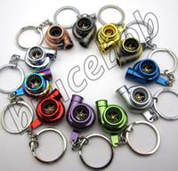 achat en gros de porte-keyring métallique-Chargeur métal Turbo Keychain Creative Multicolor Sleeve Bearing Hot Spinning Turbine Turbocharger clés chaîne Keyfob Keyring Porte-clés