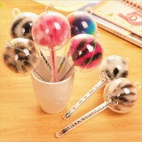 Wholesale New Creative Students Stationery Lovely Colored Hair Bulb Neutral Needle Plush Pen Cute Wacky Graffiti Inspirational Assembling Student Gift