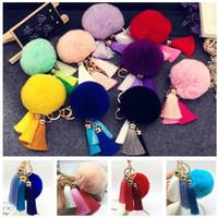 Wholesale Fashion Tassels Keychains Plush Ball Car Key Buckle Ornaments Wallet Bag Phone Case Pendant Decoration Accessories cheap