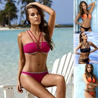 bating suits - 2016 New Womens Bikinis Set Fashion Push Up Padded Bra Swimwear Rainbow Solid Swimsuit Sexy Brand Bating Suit Low waist color SML