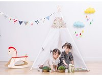baby room accessories - Four Poles Indian Play Tent Patchwork Children Teepees Kids Tipi Tent Cotton Canvas Teepee White Play House for Baby Room