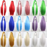 Wholesale 1pcs Long Colors cm inch Straight Cosplay Wigs green blue purple brown Synthetic Heat Resistant Costume Hair for Women Girls